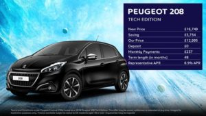 208 Tech Edition · £237 per month with £0 deposit