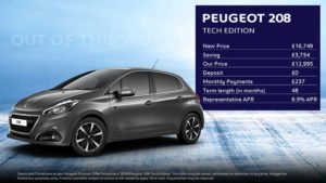 208 Tech Edition · £237 per month with NIL deposit