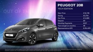 Peugeot 208 Tech Edition · £237 per month with NO deposit